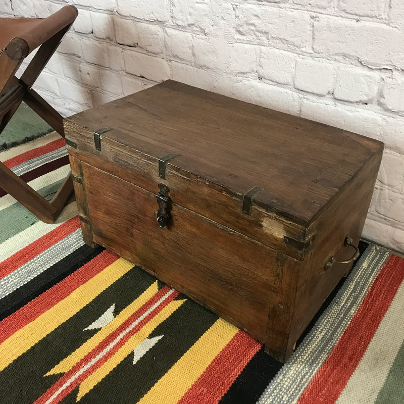 VINTAGE INDIAN CHEST METAL BANDED