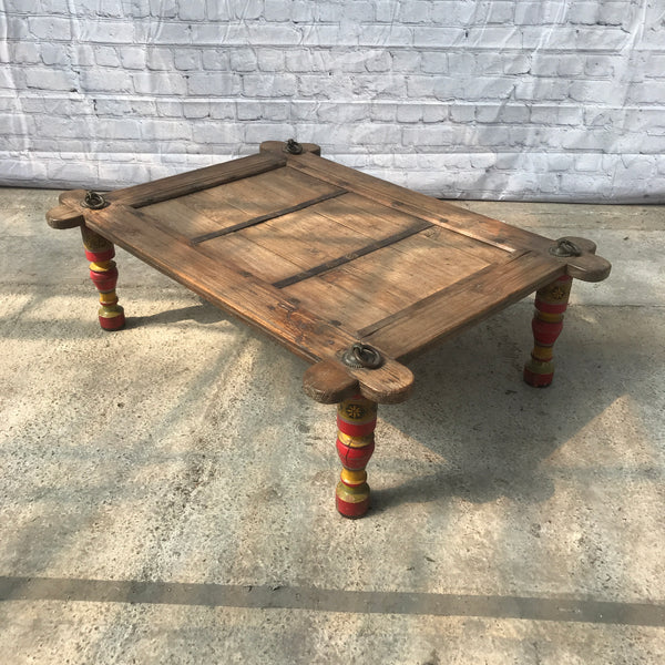 RUSTIC INDIAN SWING UPCYCLED AS A COFFEE TABLE WITH MULTI-COLOURED BALUSTER LEGS | 41227 W