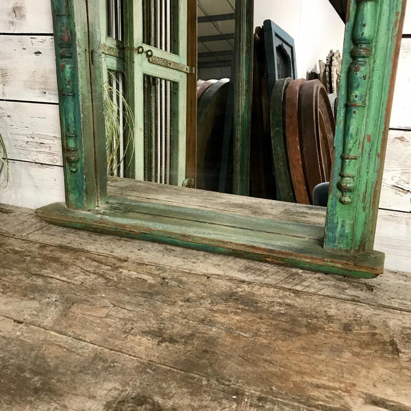 Anglo-Indian Green Mirror with tile (H87cm | W68cm)