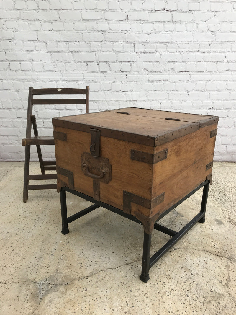VINTAGE INDIAN MILITARY CHEST ON CUSTOM STAND