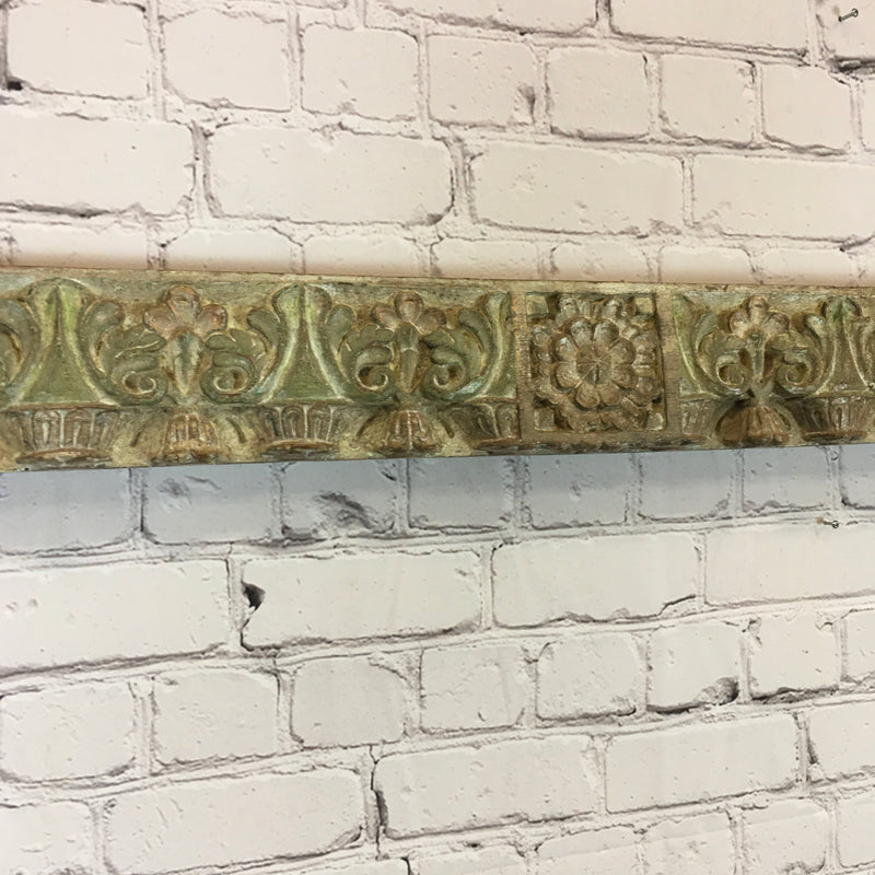 Carved painted architectural panel
