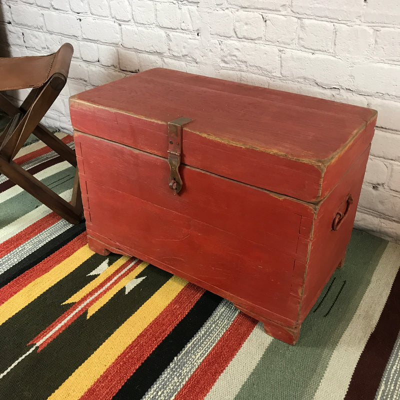 Rustic hand painted red Indian Chest | 44730