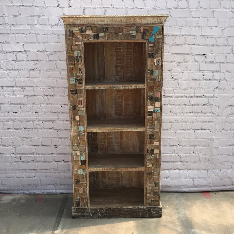 Reclaimed Indian teak wood bookcase shelving