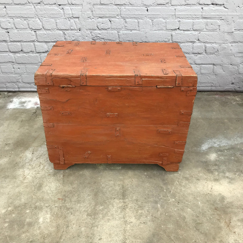 Colourful Indian teak storage chest with metal handles | 45379