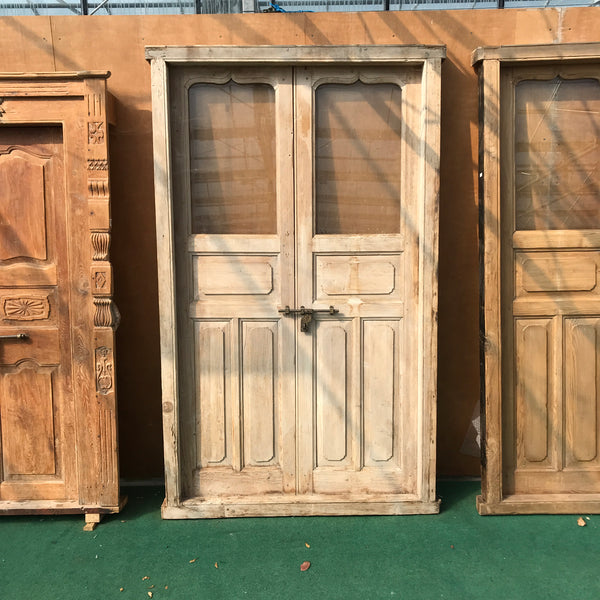 Vintage Indian pine doors with glass panel (H228 | W135)