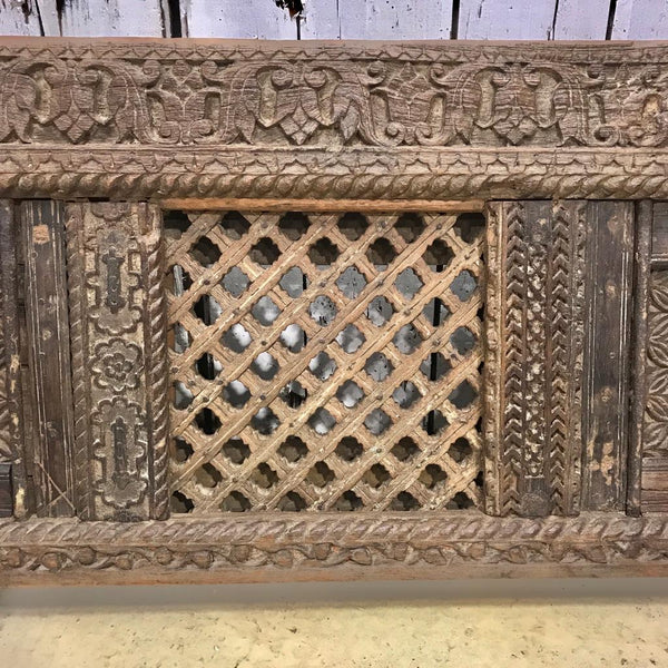 Vintage Hand Carved Indian Wood Headboard (W163cm | H60cm)