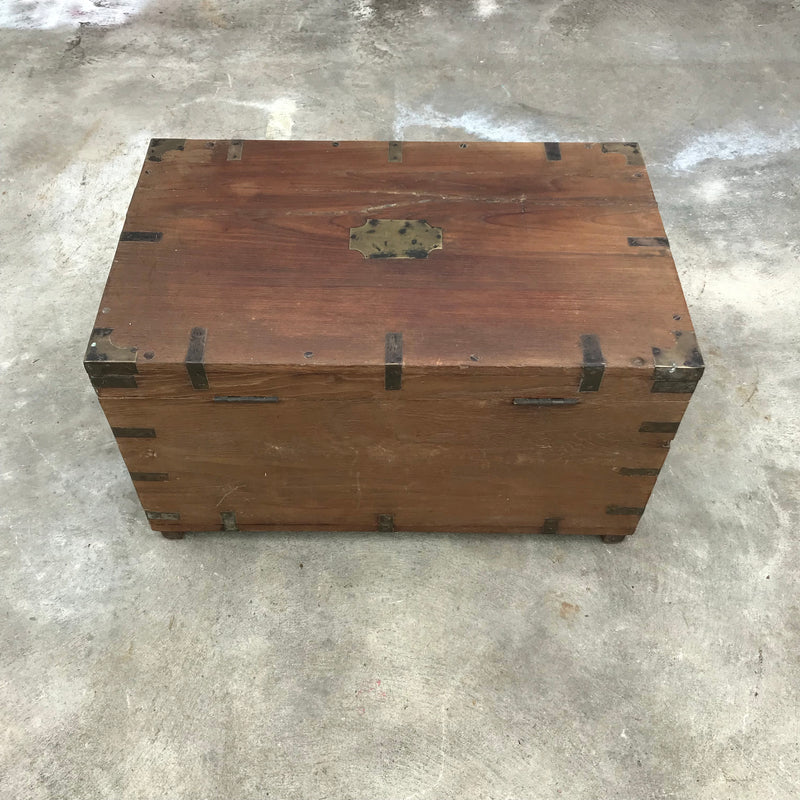 ANTIQUE ANGLO INDIAN WOOD & BRASS DOWRY CHEST/ JEWELLERY BOX (W61CM | H34.5CM)