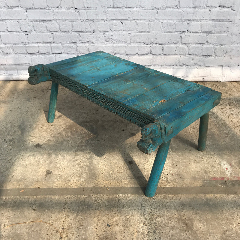 HAND CARVED PAINTED LOW TABLE | BLUE (H40CM | W96CM)