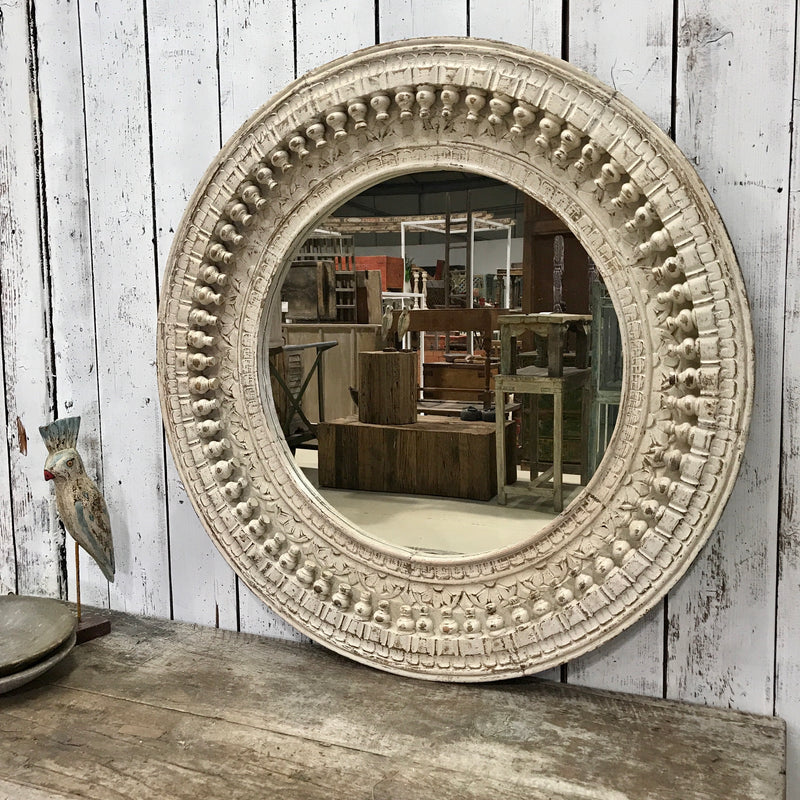 Hand Carved Indian Ornate Circular Mirror | ø90cm