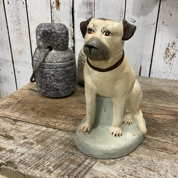 HAND PAINTED CERAMIC SEATED DOG STATUE (H26CM | W22CM)