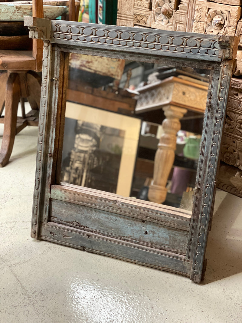 INDIAN CARVED SHUTTER WINDOW MIRROR
