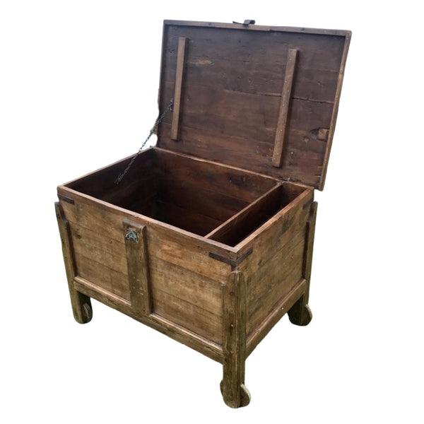 ANTIQUE GOA MERCHANT'S TEAK STORAGE CHEST