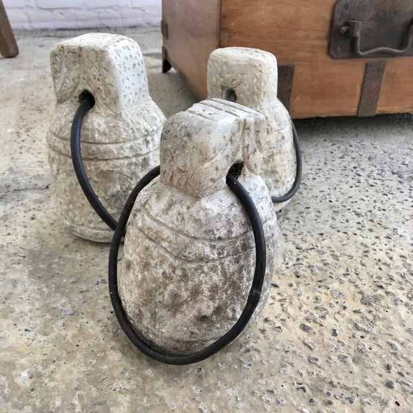 Large Vintage stone tent weight/ door stop | ø22cm