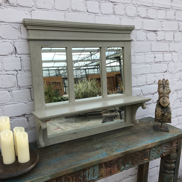 SOLID GREY PAINTED WALL MIRROR WITH SHELF | 44297