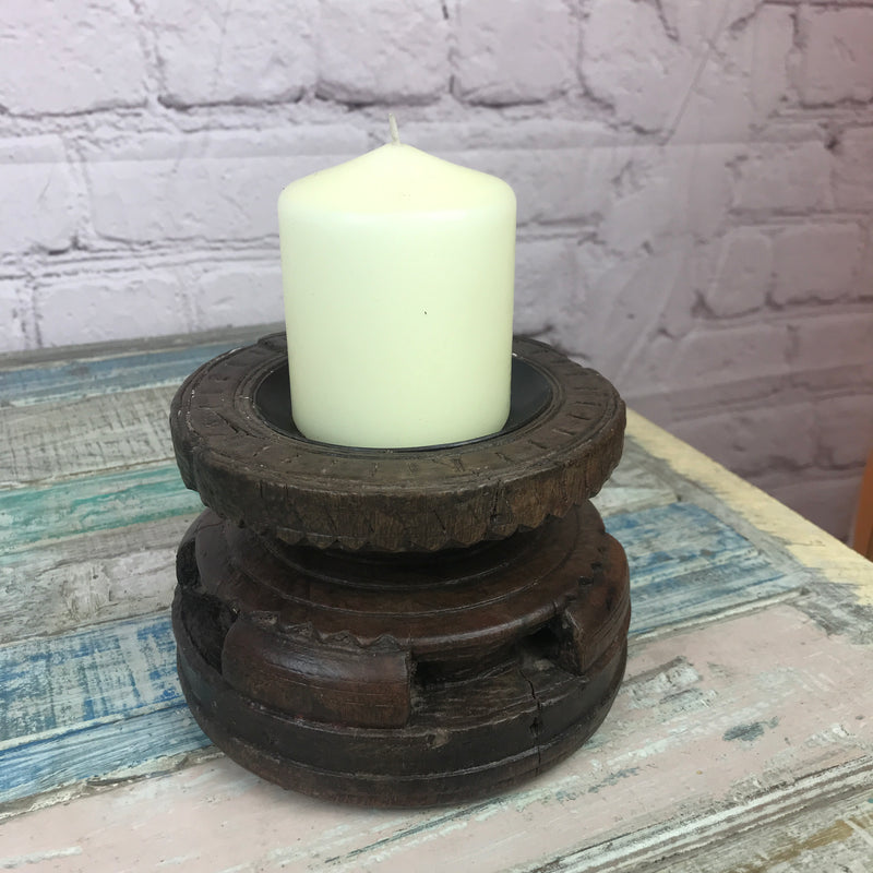 Upcycled Indian seeder candle holder | ø15cm