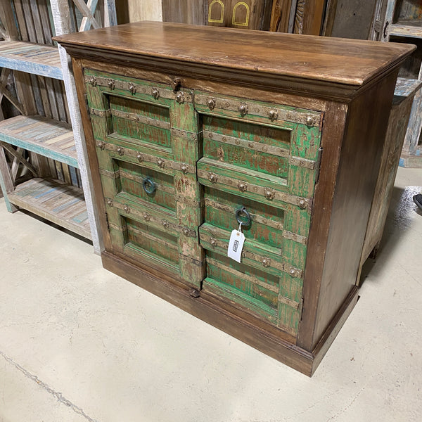 UPCYCLED INDIAN DOOR CABINET | GREEN PATINA (W120CM | H112CM)