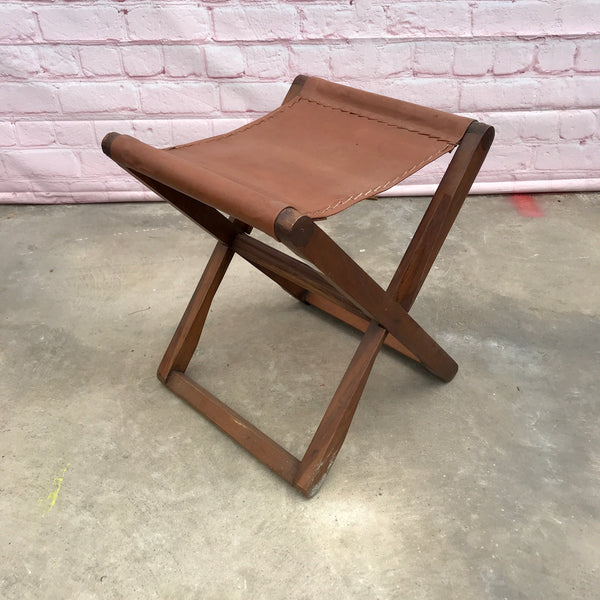 Folding leather and reclaimed teak wood stool