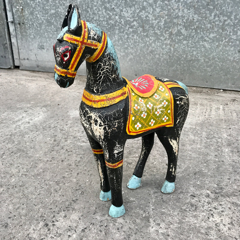 HAND PAINTED INDIAN HORSE STATUE