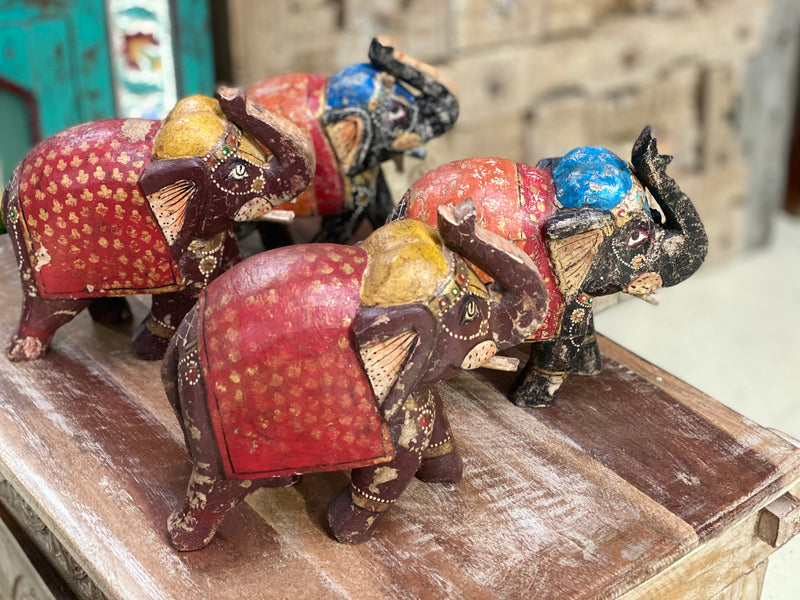 HAND CARVED & PAINTED INDIAN ELEPHANT STATUE