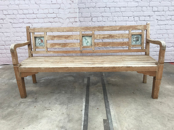 Old Indian bench with ceramic tiles | 39071 (W)