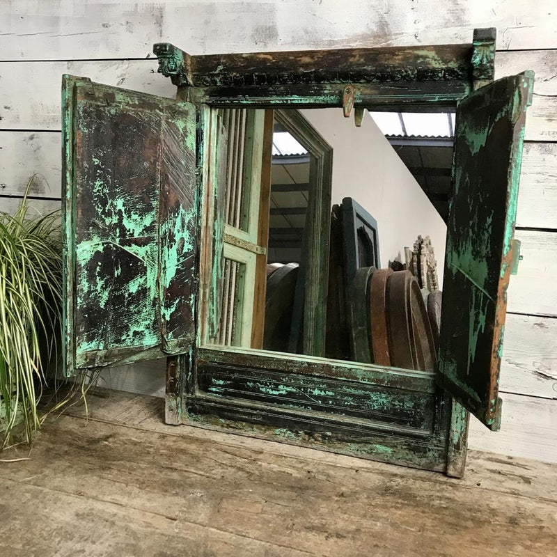 VINTAGE INDIAN WINDOW SHUTTER MIRROR | GREEN (H66cm | W53cm)