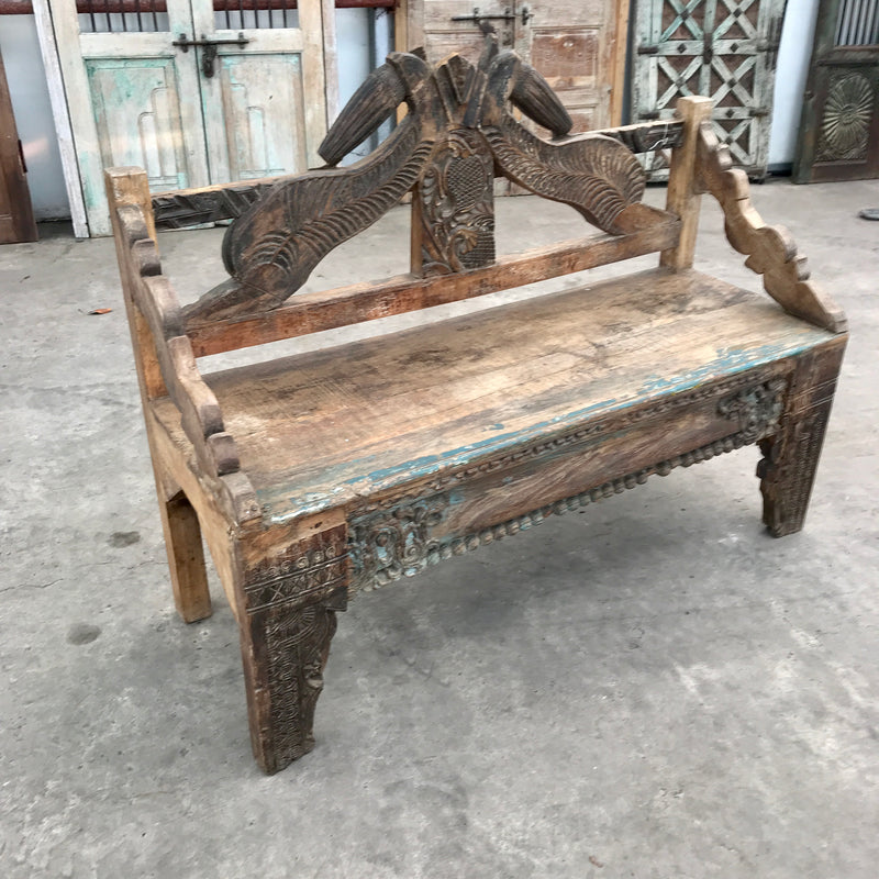 Decorative Vintage Carved Indian Teak Bench (W133cm | H104cm)
