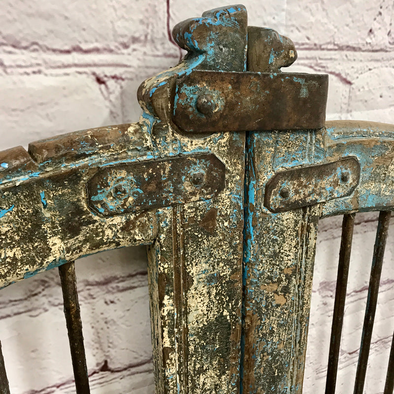 Vintage Indian Dog Gate with blue and cream patina • H115CM | W108CM