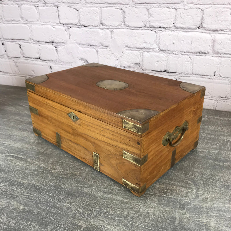 Classic vintage Anglo-Indian teak desk box ideal for jewellery | 28334