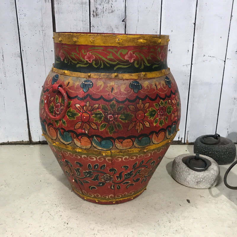 HAND PAINTED VINTAGE INDIAN METAL WATER POT (H49CM)