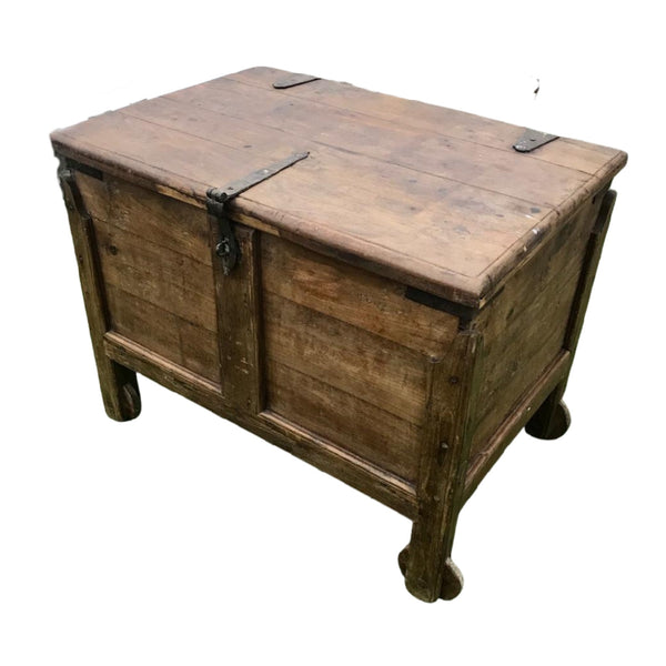 ANTIQUE GOA MERCHANT'S TEAK CHEST (W90cm | H70cm)
