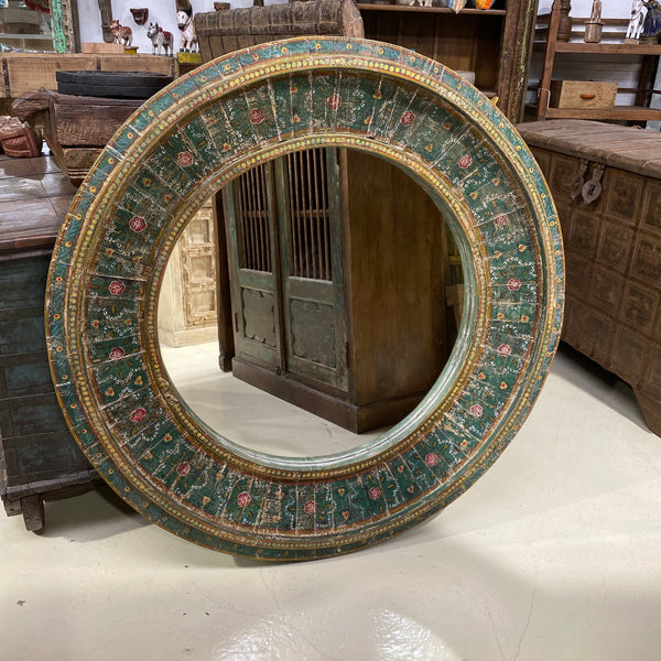 HAND PAINTED CIRCULAR WALL MIRROR | GREEN Ø120CM