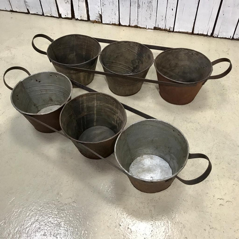 3-BUCKET RECYCLED METAL PLANTER (W110CM | H25CM)
