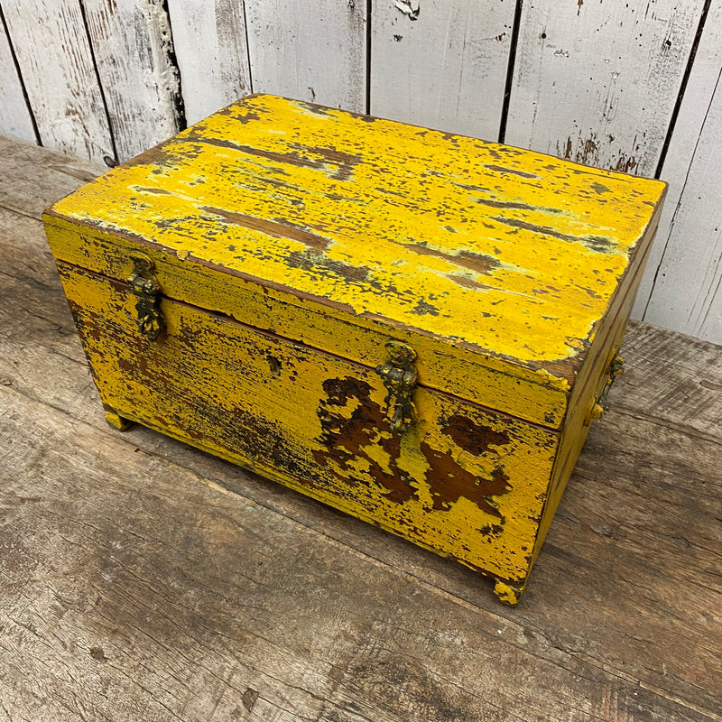 Rustic hand painted yellow jewellery box | 06912