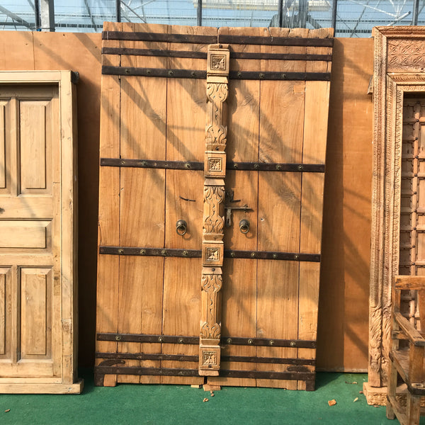 Antique Indian Haveli Mansion Carved Teak Door in frame (H250cm | D150cm)