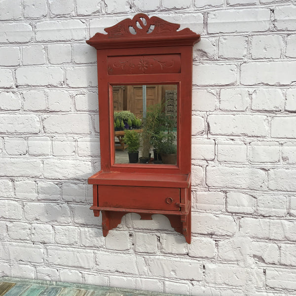 TRADITIONAL RED WOODEN BARBER'S MIRROR | 44327