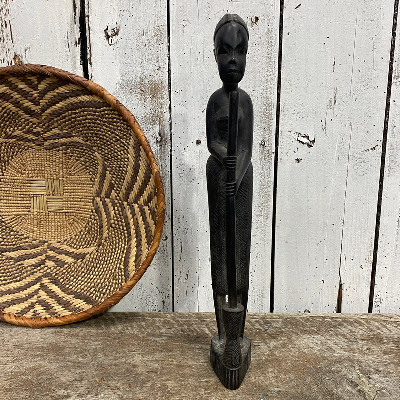VINTAGE AFRICAN EBONY WOOD TRIBAL ART STATUE OF LADY & MORTAR