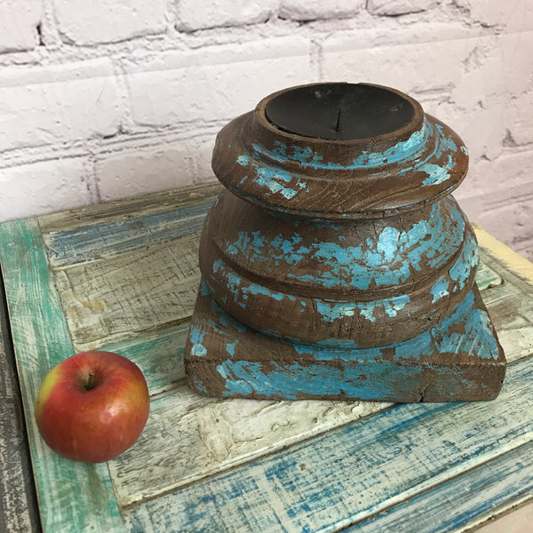 Salvaged Indian pillar base candle holder | ø21cm