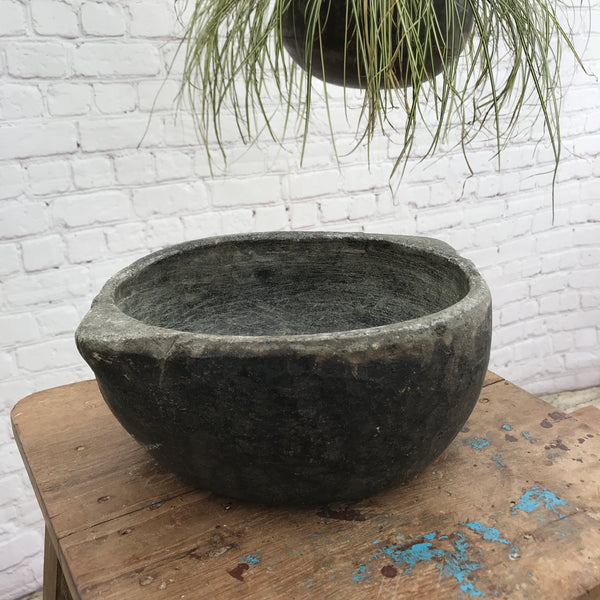 Ancient cookware soapstone bowl | ø24.5cm