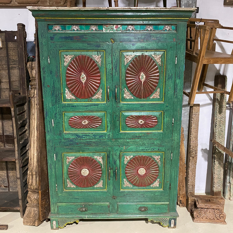 VINTAGE INDIAN HAND PAINTED ALMIRAH KITCHEN CUPBOARD CABINET (H203CM | W165CM)