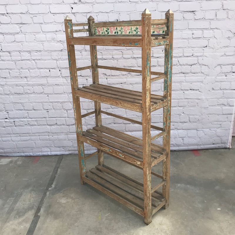 Vintage Anglo-Indian shelf with decorative tiles