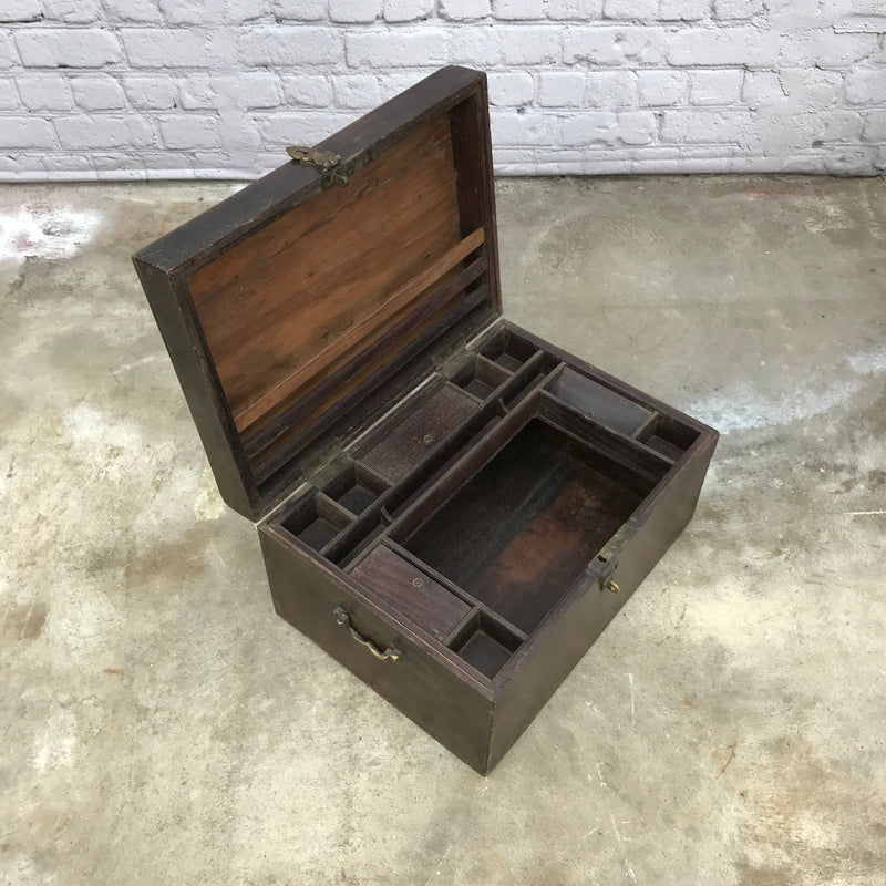 Classic Anglo-Indian teak box with multiple storage | 18588