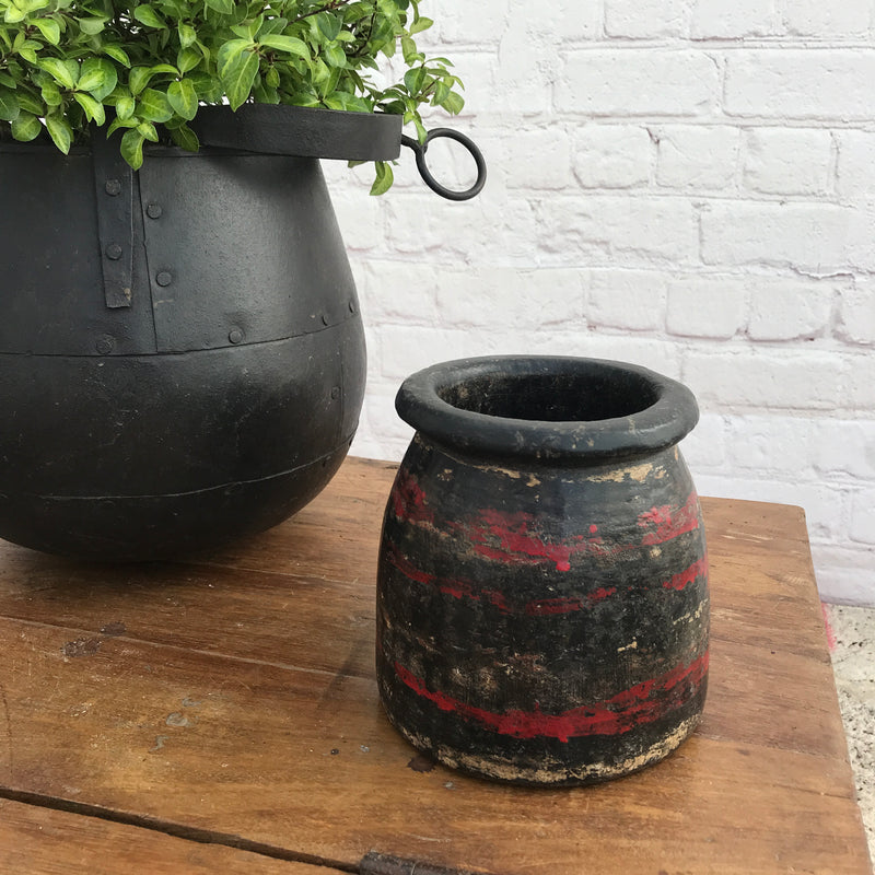 Vintage Indian earthenware painted pot | ø15cm