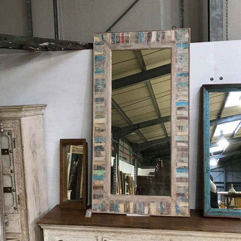 Hand crafted Indian reclaimed teak wall mirror (H151CM | W80CM)