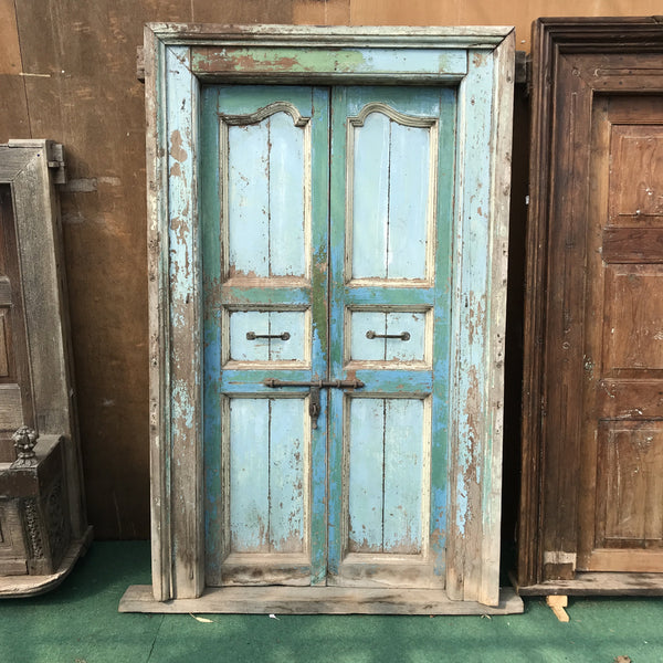 • SOLD • Shabby chic vintage Indian teak door in frame style (H210 | W117)
