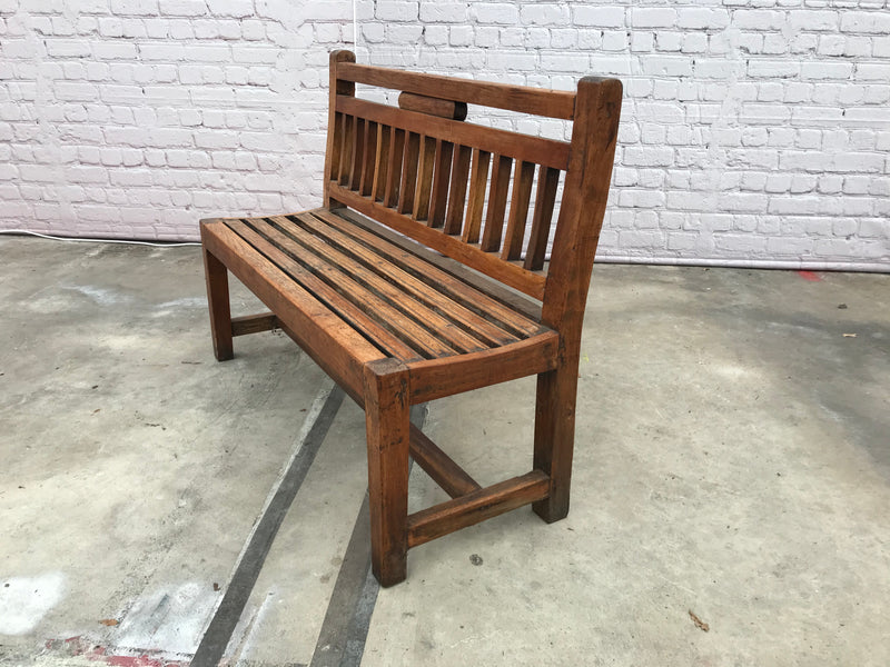 VINTAGE INDIAN TEAK BENCH (W122CM | 92CM)