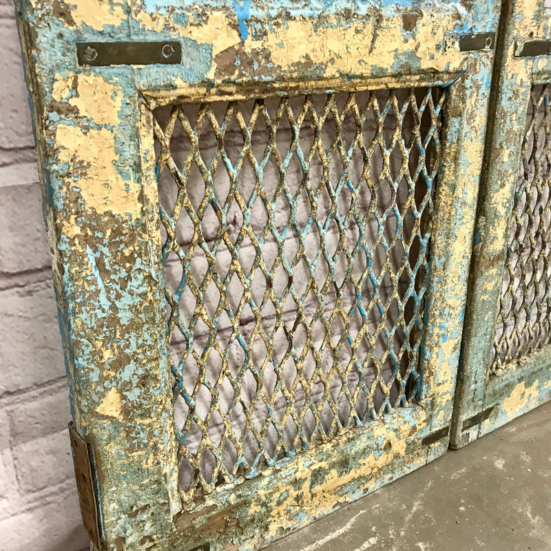 Vintage Indian Garden Dog Gate | Blue Peacocks