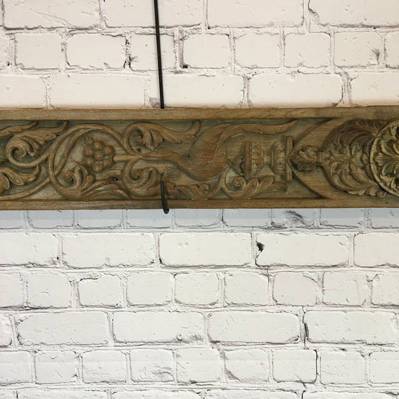 Vintage Hand carved Indian architectural panel (W209cm | H20cm)