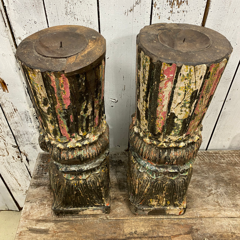 ANTIQUE INDIAN PAINTED TEAK PILLAR CANDLE HOLDER (H56CM | Ø18CM)