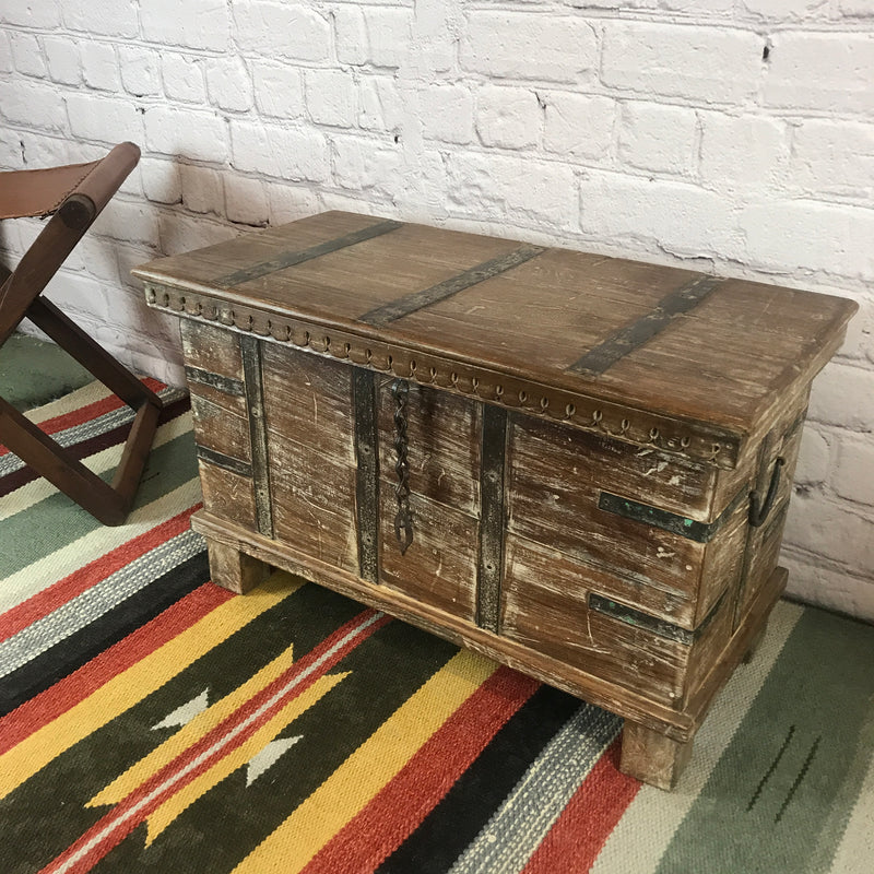 RECLAIMED INDIAN HARDWOOD CHEST METAL BANDED