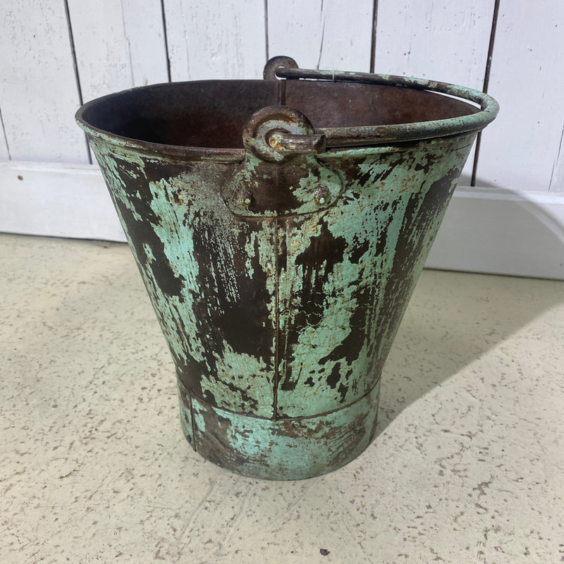 SMALL PAINTED BUCKET | GREEN TURQUOISE | Ø28CM  H27CM